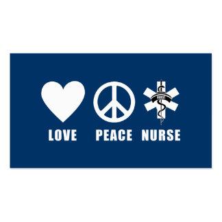 Enfermera de la paz del amor tarjetas personales