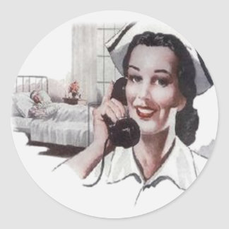 Enfermera de la sala de hospital del vintage en el pegatinas redondas
