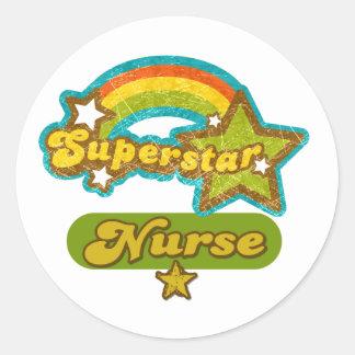 Enfermera de la superestrella pegatina redonda