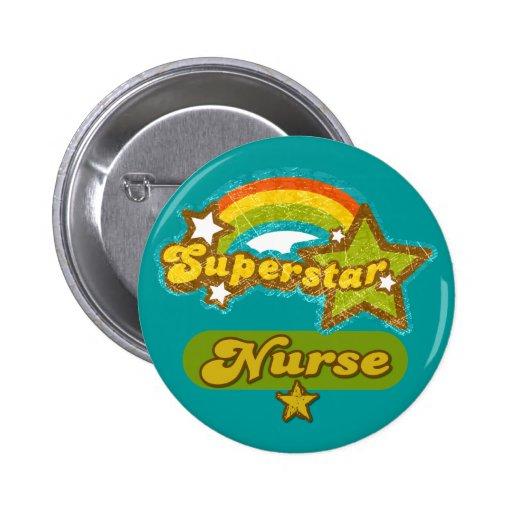 Enfermera de la superestrella pin redondo 5 cm