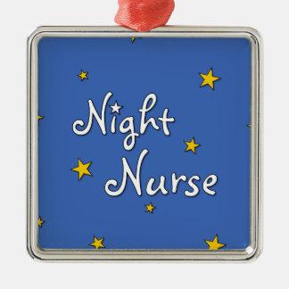 Enfermera de noche adorno navideño cuadrado de metal