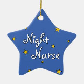 Enfermera de noche adorno navideño de cerámica en forma de estrella