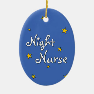 Enfermera de noche adorno navideño ovalado de cerámica