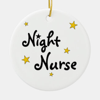 Enfermera de noche adorno navideño redondo de cerámica