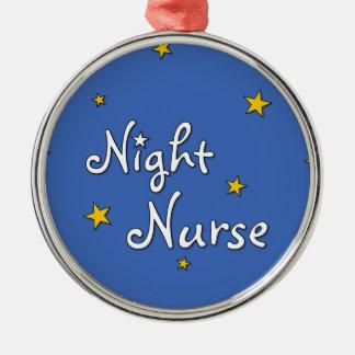 Enfermera de noche adorno navideño redondo de metal
