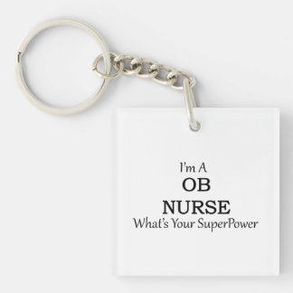 Enfermera de OB Llavero Cuadrado Acrílico A Doble Cara