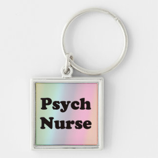 Enfermera de Psych Llavero Cuadrado Plateado