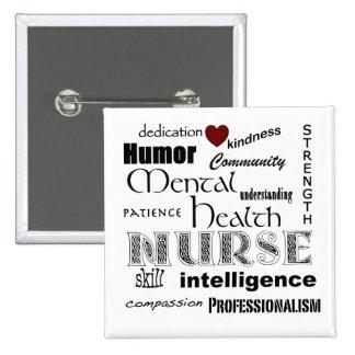 Enfermera de salud mental Pride-/White+Corazón roj Pin Cuadrado