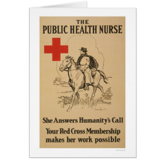 Enfermera de salud pública - ella contesta a la tarjeta de felicitación