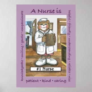 Enfermera, de sexo femenino en oficina póster