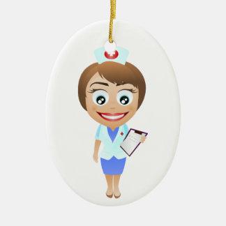 Enfermera de sexo femenino feliz adorno ovalado de cerámica