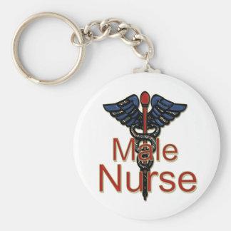 Enfermera de sexo masculino con el caduceo llavero redondo tipo pin