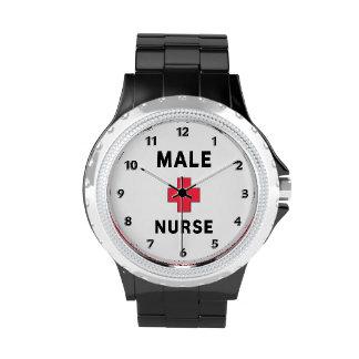 Enfermera de sexo masculino reloj de mano