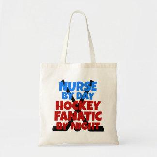 Enfermera del amante del hockey bolsas lienzo