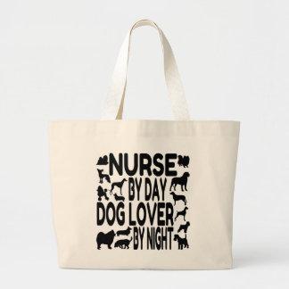 Enfermera del amante del perro bolsa tela grande
