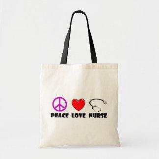 Enfermera del amor de la paz bolsa tela barata