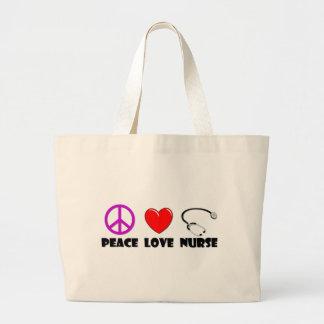 Enfermera del amor de la paz bolsa de mano