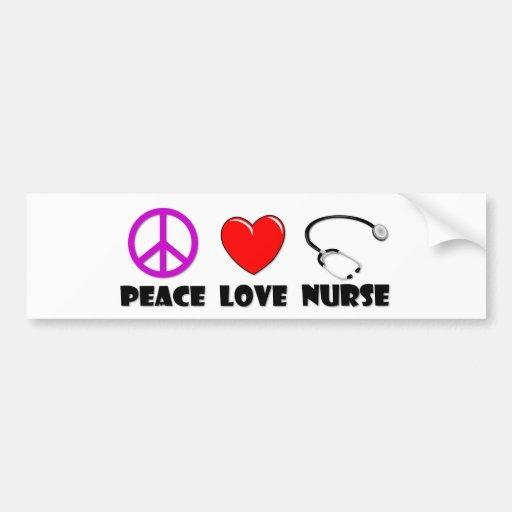 Enfermera del amor de la paz pegatina de parachoque