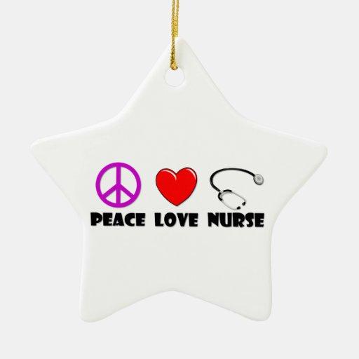 Enfermera del amor de la paz adorno de cerámica en forma de estrella