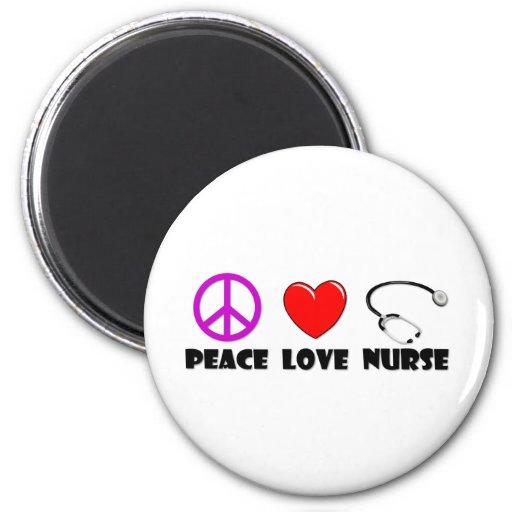 Enfermera del amor de la paz imanes para frigoríficos