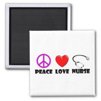 Enfermera del amor de la paz imán cuadrado