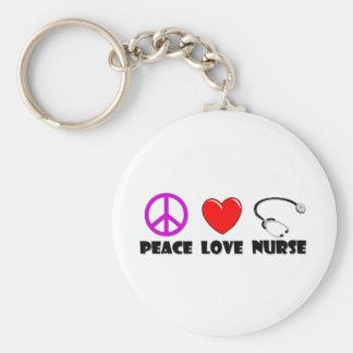Enfermera del amor de la paz llaveros personalizados