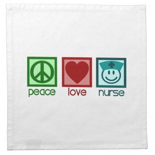 Enfermera del amor de la paz servilleta