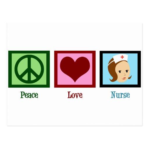 Enfermera del amor de la paz postal