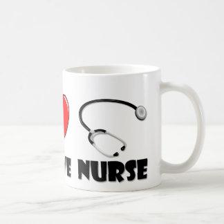 Enfermera del amor de la paz tazas de café
