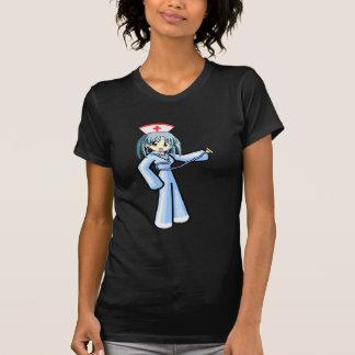 Enfermera del animado con el uniforme del azul del camiseta