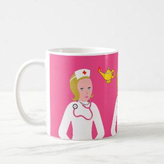 Enfermera del animado que lleva el estetoscopio ro taza