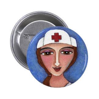 Enfermera del arte popular - botón del RN/del ofic Pin Redondo De 2 Pulgadas