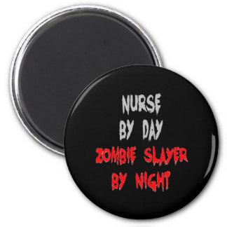 Enfermera del asesino del zombi imán redondo 5 cm