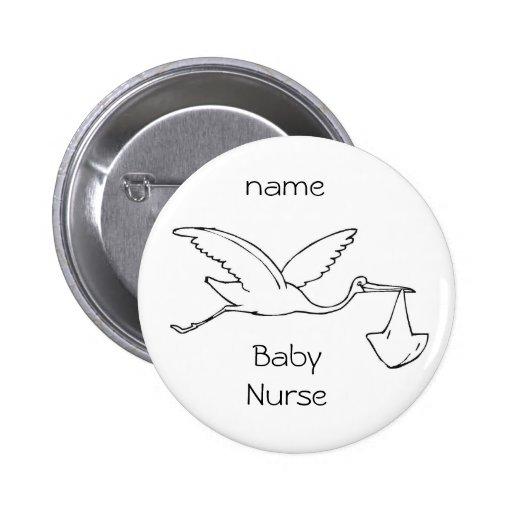 enfermera del bebé del botón, bebé, enfermera del  pin redondo 5 cm