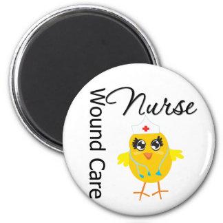 Enfermera del cuidado de la herida del polluelo v1 imán redondo 5 cm