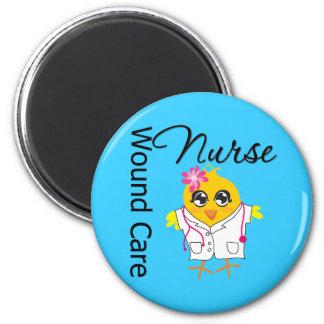 Enfermera del cuidado de la herida del polluelo v2 imán redondo 5 cm