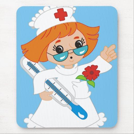 Enfermera del dibujo animado alfombrilla de ratones