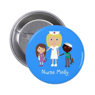 Enfermera del dibujo animado y botón lindos de los pins