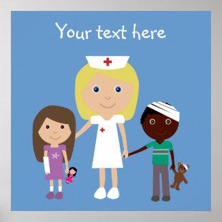 Enfermera del dibujo animado y poster lindos de lo