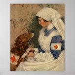 Enfermera del ejército del vintage con el golden póster