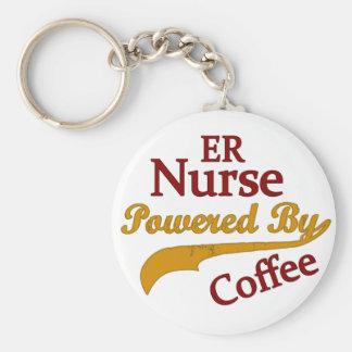 Enfermera del ER accionada por el café Llavero Redondo Tipo Pin