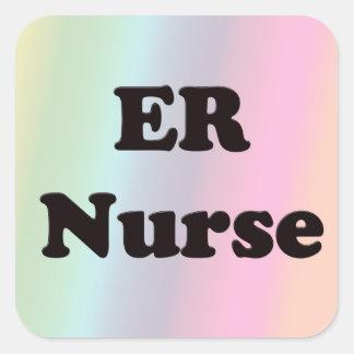 Enfermera del ER Calcomanías Cuadradases