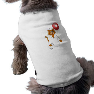Enfermera del gato del dibujo animado con el globo camisas de mascota