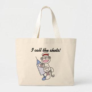 Enfermera del mono del calcetín llamo los regalos  bolsa tela grande