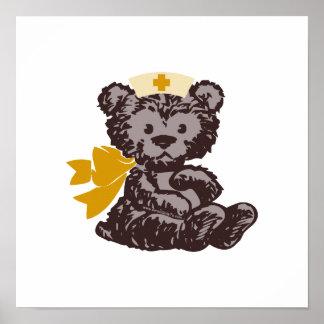 Enfermera del oso de peluche amarillo impresiones