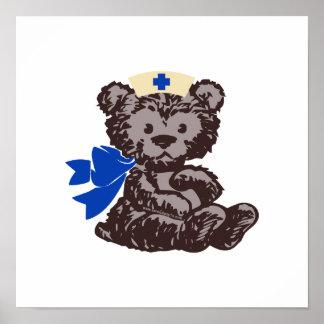 Enfermera del oso de peluche azul impresiones