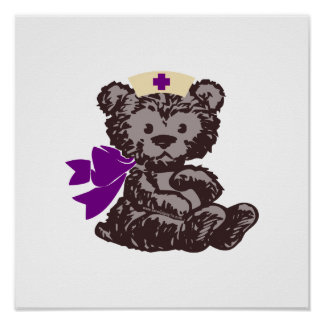 Enfermera del oso de peluche púrpura poster