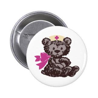 Enfermera del oso de peluche (rosa) pin redondo de 2 pulgadas