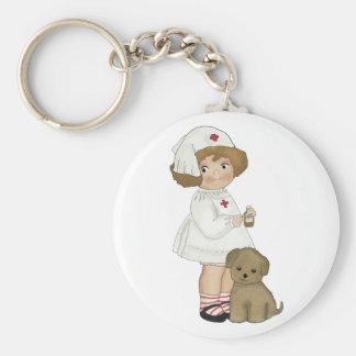 Enfermera del vintage con las camisetas y los rega llavero redondo tipo pin