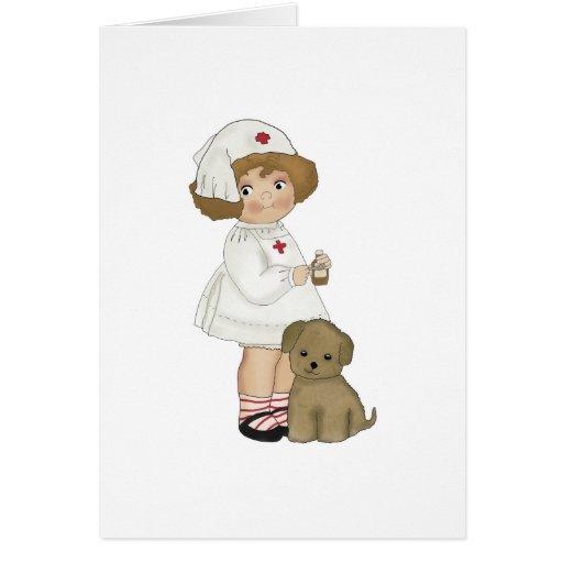 Enfermera del vintage con las camisetas y los rega felicitación